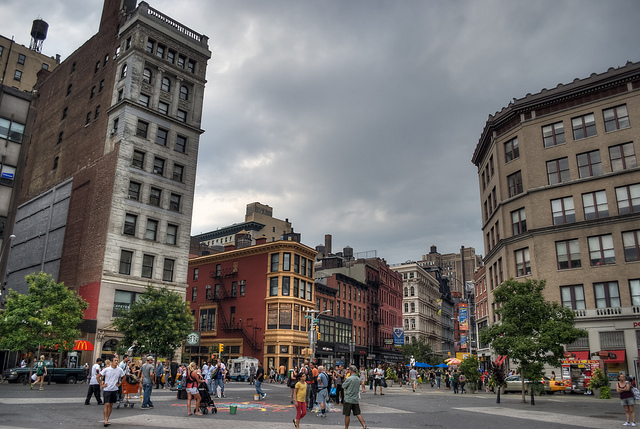Union Square is an important and historic intersection and surrounding neighborhood in Manhattan, New York City, located where Broadway and the former Bowery Road – now Fourth Avenue – came together in the early 19th century; its name denotes that