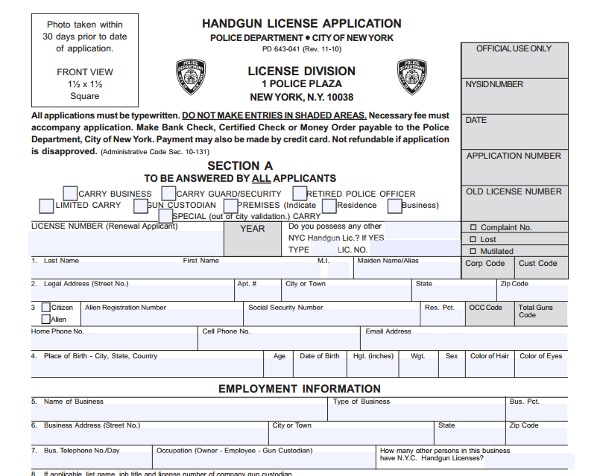licenseapplicationnyc Whpd Pistol Permit Application Form on